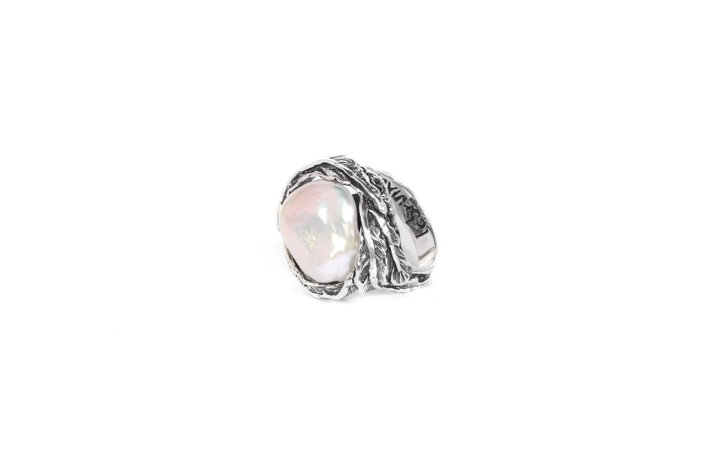 eeeb7f366 Anillo plata y perla barroca blanca - labruixeta