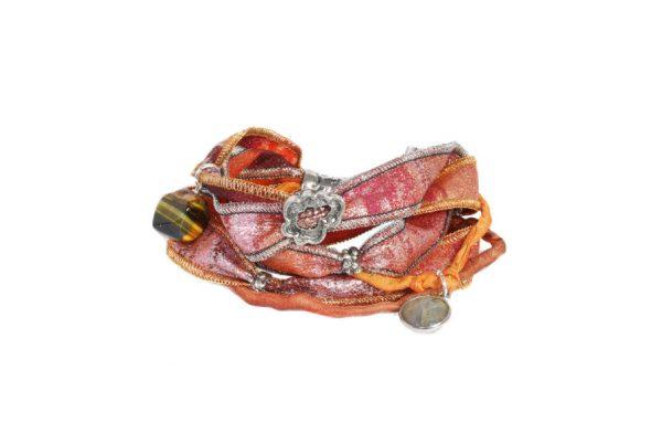 Pulsera de plata con seda natural - Joyas de plata artesanales - labruixeta