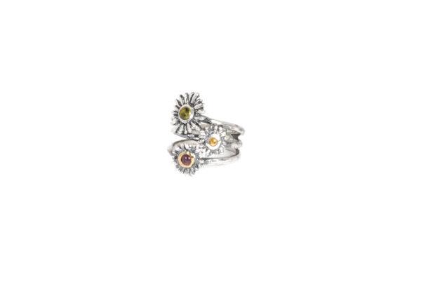 Sortija de plata oro y turmalinas - Joyas de plata artesanales - labruixeta