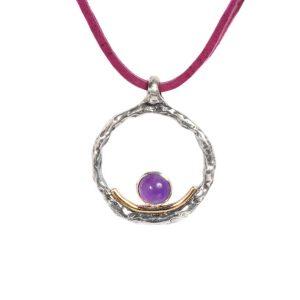 Colgante plata oro y cuarzo - Joyas de plata artesanales - labruixeta