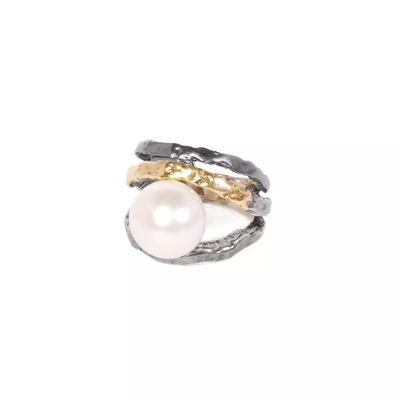 Anillo Plata ennegrecida 925 m. y oro 9 k. con perla blanca