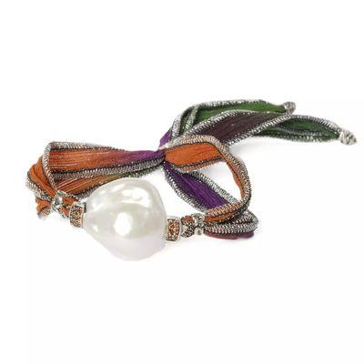 Pulsera seda y plata 925 m. con perla blanca barroca y Marquesitas